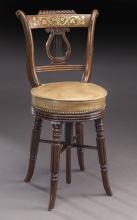Regency inlaid brass swivel piano chair