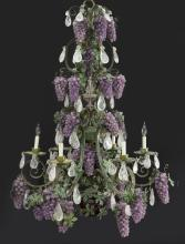 Crystal and amethyst 6-light chandelier,