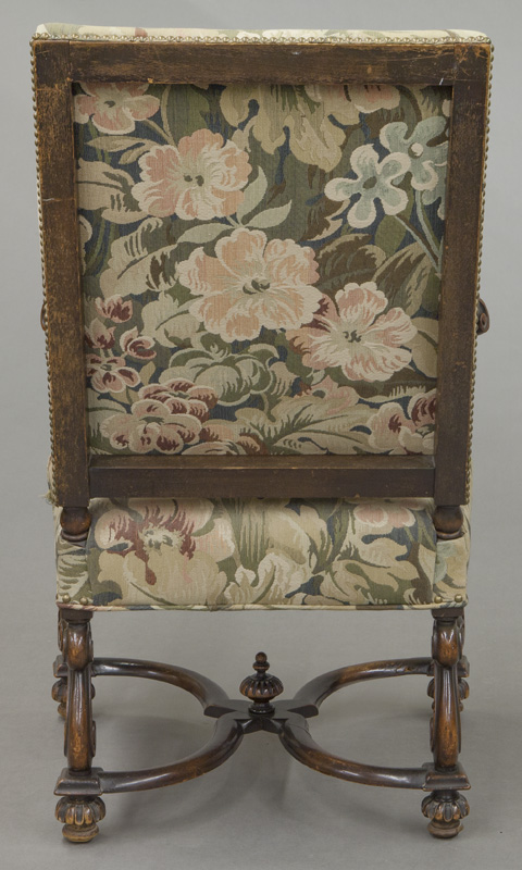 Louis Xiii Style Carved Walnut Arm Chair