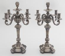 Pr. silverplate 5-light candelabra with four