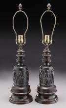 Pr. Neoclassical style cast bronze lamps