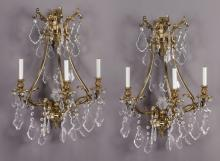 Pr. of crystal and gilt bronze wall sconces,
