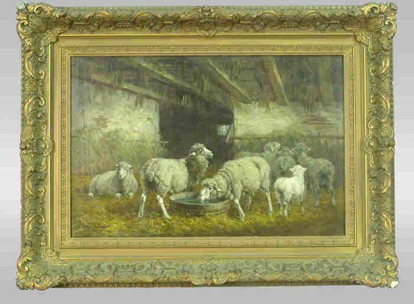 Signed Gregory Hollyer (LL) oil on canvas barn scene with sheep in antique gilt wood frame. Hollyer is a late 19th Century American artist who is