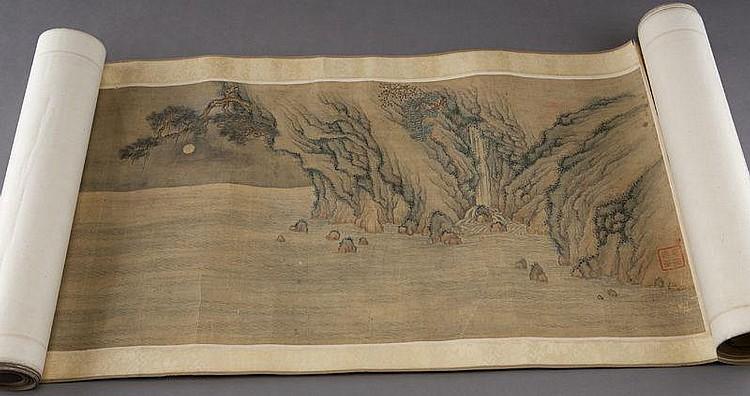 Chinese watercolor hand scroll att. to Yu Ji,