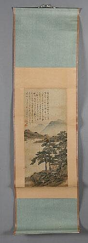 Chinese watercolor on paper painted scroll