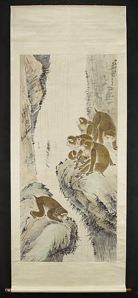 Chinese watercolor scroll by Zhu Wen Hou depicting
