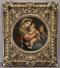 """Auguste Estienne, """"Madonna Della Sedia"""" oil on"""
