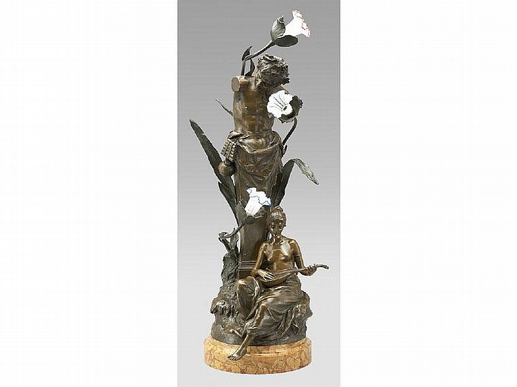 Hans Muller bronze figural lamp of a lady playing