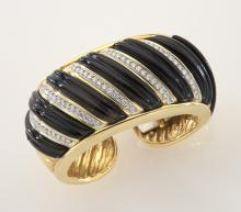 18K gold, diamond and onyx cuff bracelet