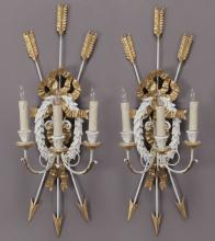 Pr. Louis XVI style painted wall sconces,