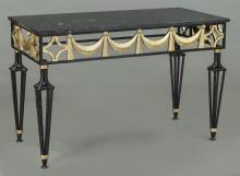 Partial gilt marble top iron table,