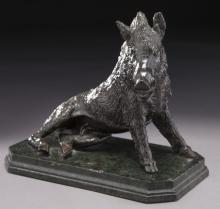 Bronze boar raised on marble canted corner base,