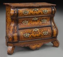 Flemish marquetry inlaid walnut commode