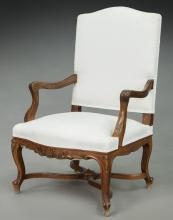 French carved walnut open armchair