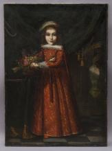 Oil on canvas portrait depicting a young girl in
