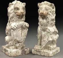 Pr. French terra cotta lions,