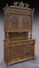 French carved walnut buffet,