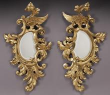 Pr. Spanish gilt carved wood rococo style mirrors