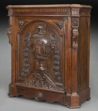 19th C. French carved oak single-door cabinet,