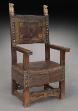 17th C. Spanish embossed leather armchair,