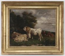 French School oil on board depicting cows