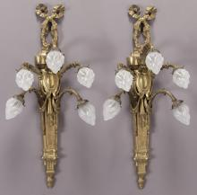 Pr. Louis XVI style bronze 10-light sconces