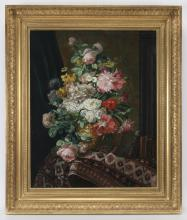 20th C. oil on canvas depicting floral still life