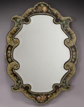 Napoleon III painted and inlaid wall mirror,