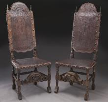 Near pair Portuguese embossed leather chairs,