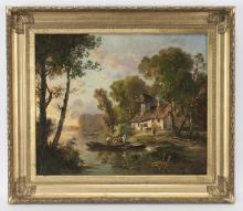 French School oil on canvas depicting a cottage