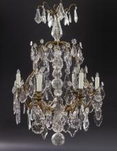 French gilt bronze and crystal 6-light chandelier,