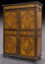 Italian burled walnut inlaid armoire