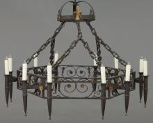 Large French iron hexagon shaped chandelier