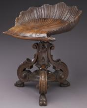 French carved wood grotto stool,