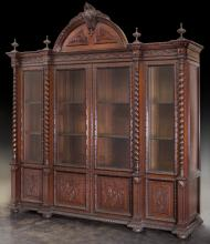 19th C. Portuguese 4-door bookcase,