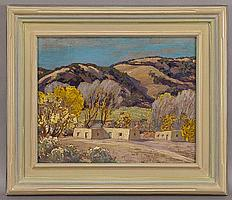 """Sheldon Parsons, """"October, Tesuque"""" oil painting"""