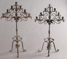 Pr. Italian antique iron 7-light candelabra,