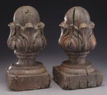 Pr. 18th C. carved wood finials