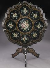 Napoleon III ebonized tilt top table,