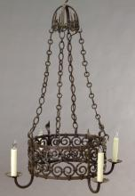 French iron 4-light chandelier