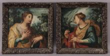 Pr. 17th C. oil on board portraits depicting