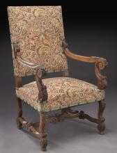 French carved walnut armchair,
