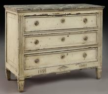 19th C. French faux-painted commode,