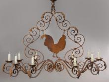 French iron 10-light chandelier