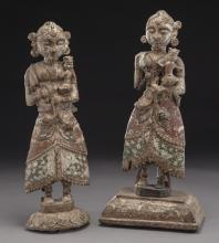 Pr. 18th C. Indian polychrome figures,