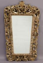 19th C. carved parcel-gilt mirror,