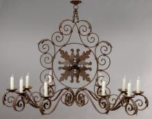 French 10-light iron chandelier,