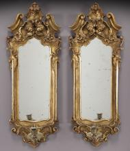 Pr. 19th C. Italian gilt mirrored sconces