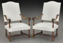 Pr. French carved armchairs,