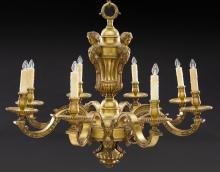 French gilt bronze 8-light chandelier,